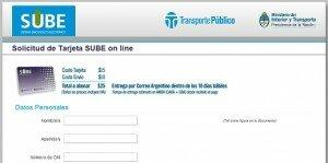 Comprar la tarjeta SUBE por Internet: Formulario y costo