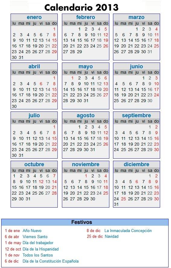 Calendarios 2013 gratis: Feriados y fines de semana largos